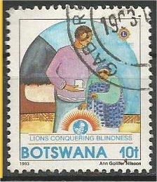 BOTSWANA, 1993, used 10c, Lions Intl., Scott 544