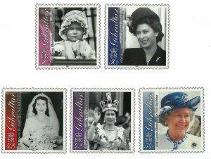Gibraltar 2001   Queen Elizabeth 75th Birthday Royalty - # 875-879 MNH