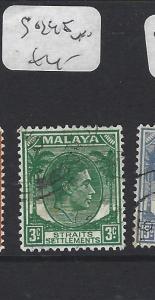 MALAYA  STRAITS SETTLEMENTS  (P0609B)   KGVI   3C  DIE 2  SG 295  MOG