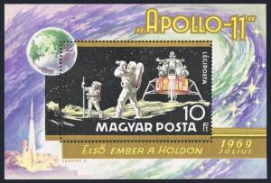 Hungary C295,MNH.Michel Bl.72. Moon landing,1969.Apollo 11.