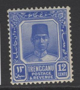 MALAYA TRENGGANU SG36 1926 12c BRIGHT ULTRAMARINE MTD MINT