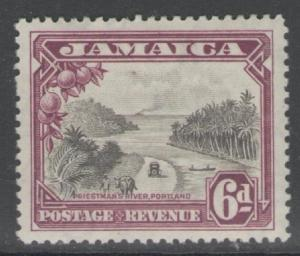 JAMAICA SG113 1932 6d GREY-BLACK & PURPLE MTD MINT