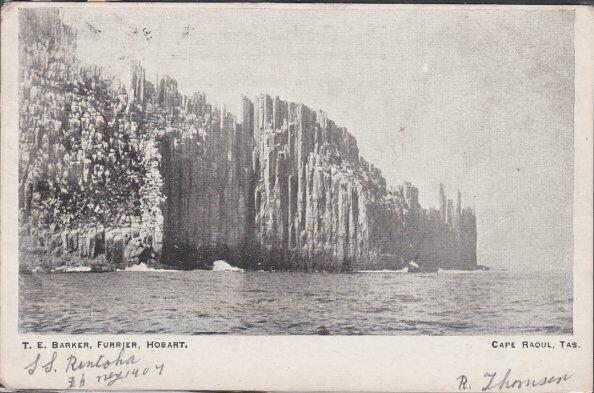 TASMANIA 1907 postcard Hobart to Scotland - view of Cape Raoul.............53733