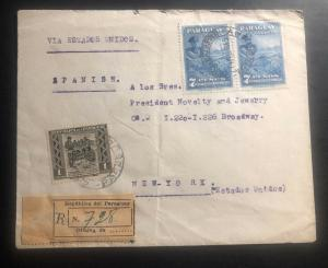 1945 Asuncion Paraguay Registered Commercial Cover To New York USA