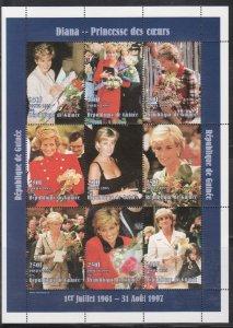 Guinea MNH S/S Princess Diana Blue 1998 9 Stamps