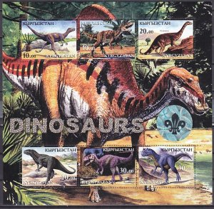 Kyrgyzstan, Russian 2001 Local. Dinosaurs Sheet of 6. Scout Logo Hologram. ^