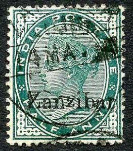 Zanzibar SG3Var 1/2d Blue-green Small second Z and inverted Q for B