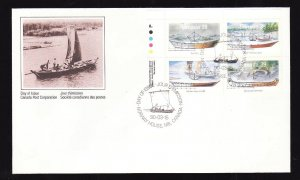 Canada-Sc#1269a-stamps on FDC-UL plate block-Small Craft-Work Boats-1990-