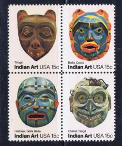 U.S. 1837a NH 1980 Indian Art Block of 4