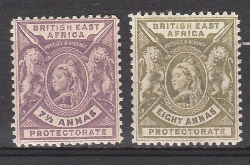 BRITISH EAST AFRICA 1896 QV LIONS 71/2A AND 8A