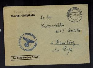 1943 Germany Auschwitz Concentration Camp Reichsbahn Office Cover KZ Riga Latvia
