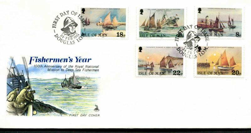 Isle of Man SC# 184-88 Fishing Boats & Year of the Fisherman FDC