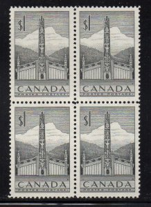 Canada Sc 321 1953 $1 Totem Pole stamp block of 4 mint NH