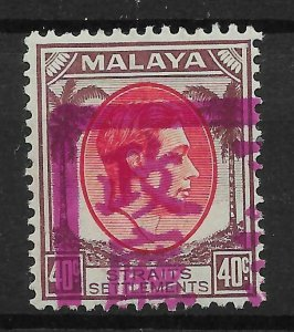 MALAYA-JAP.OCC. SGJ53 1942 MALACCA 40c SCARLET & DULL PURPLE MINT - FORGERY