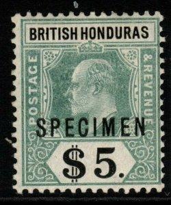BRITISH HONDURAS SG93s 1907 $5 GREY-GREEN & BLACK SPECIMEN MTD MINT