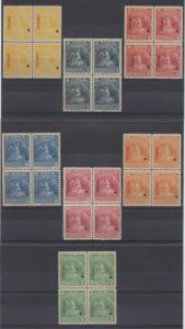 BOLIVIA 1901 TELEGRAPH UNISSUED Hiscocks 1-7 FULL SET IN BLOCKSx4 SPECIMEN MNH