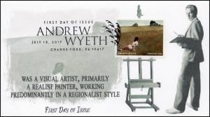 17-156, 2017, Andrew Wyeth, Artist, Painter, FDC, Pictorial, Chadds Ford PA