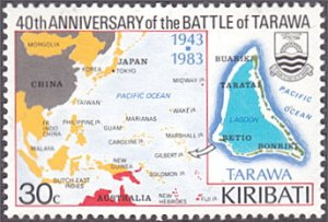 Kiribati # 432 mnh ~ 30¢ Battle of Tarawa, Map