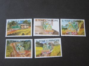 St. Thomas & Prince 1993 Sc 1133-7 Train set MNH