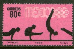 MEXICO 993, 80¢ Gymnastics 4th Pre-Olympic Set. MINT, NH. VF.