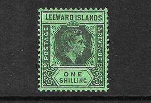 LEEWARD ISLANDS 1938  1/-   KGVI  FU SG 110