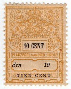 (I.B) Netherlands Indies Revenue : Duty Stamp 10c (Plakzegel)