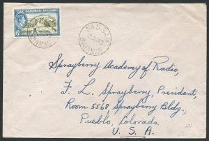 BAHAMAS 1948 cover to USA - GVI 6d - Nassau cds............................46858