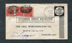 Postal History - Markle IN 1944 Numeral Duplex Cancel Reply Envelope B0370