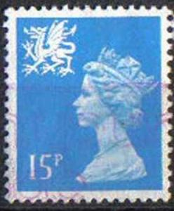 GREAT BRITAIN, WALES, used 15p,WMMH25/6 Machins