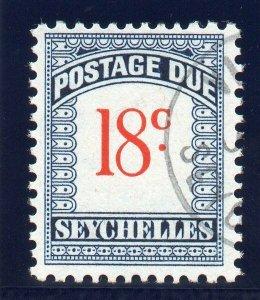 Seychelles 1951 KGVI Postage Due 18c scarlet & blue very fine used. SG D6. Sc J6
