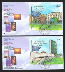 UNITED NATIONS FDCs (3) Complete SS Set In Memoriam Cause of Peace 1999 UNPA