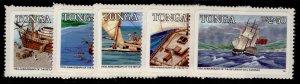 TONGA QEII SG905A-909A, 1985 departure for England set, NH MINT. Cat £10.