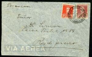 ARGENTINA BUENOS AIRES 7/19/1935 AIR MAIL COVER TO RIO DE JANEIRO, BRAZIL SHOWN