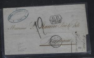 PERU COVER (PP1709B)1861 GB OFFICES IN STAMPLESS COVER TO FRANCE
