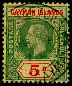 CAYMAN ISLANDS SG51, 5s green & red/yellow, FINE used. Cat £170.