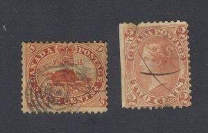 2x Canada Older Used Stamps #15-5c Beaver Fine #20-2c Victoria VG PP GV= $120.00
