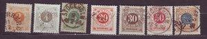J22820 JLstamps 1886-61 sweden used #-40,42-3,46-9 numerals w/posthorns reverse