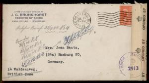 USA 6c Prexie Adams 1947 Fon du Lac WI Hamburg British Censor Germany Cove 80125