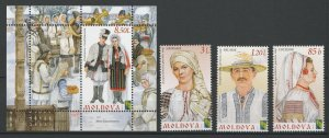 Moldova MNH S/S & 3 Stamps Traditional Costumes 2012