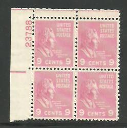 #814 William Henry Harrison Plate Block Mint NH #23788