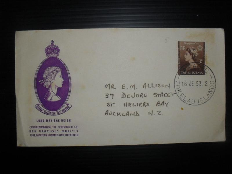 Tokelau Islands 1953 Cacheted Cover 3d Coronation Takaofo To New Zealand (10bdf)