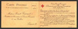 Red Cross WWI original period stationery card France unused