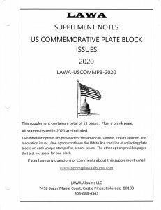 2020 US Commemorative  Plate Blocks Issue Supplement - LAWA Album Pages