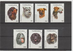Tanzania  Scott#  1144-1150  MH  (1993 Dogs)