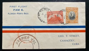 1929 Port Au Prince Haiti First Flight Airmail Cover To Camagüey Spanish Antille