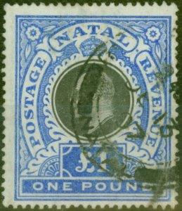 Natal 1902 £1 Black & Bright Blue SG142 Fine Used