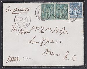 FRANCE USED IN ALGERIA 1883 cover BONE / CONSTANTINE cds to Scotland.......53668