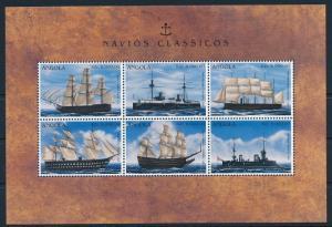 [81314] Angola 1996 War Ships Boats Essex Napoleon Sophia Amalia Sheet MNH