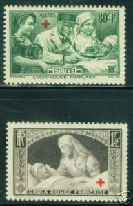 FRANCE Scott B101-B102 MH* Nurse stamp set 1940