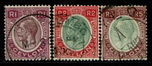 Ceylon SG# 363-365, Used, Hinge Remnant - S3079